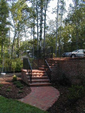 Brick Retaining Wall with Railing