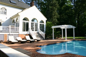 Swimming pool, brick pool deck and Walpole Woodworkers Pergola
