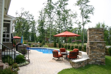 Outdoor Fireplace and swimming pool