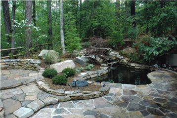 Water Feature with Stone Paving