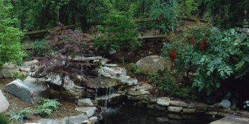 Waterfall and stone patio