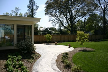 Stamped Concrete Patio with Random Rectangular Stone pattern