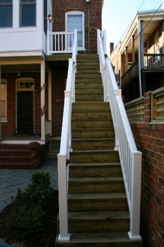 Steps with White Railing