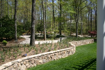 Stone Retaining Wall with Landscape Plants