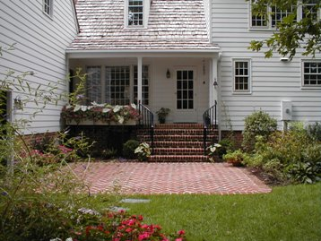 Brick Patio by Covered Porch