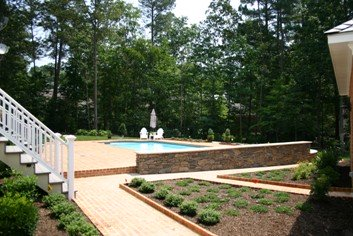 Fiberglass Pool with Stone Wall After