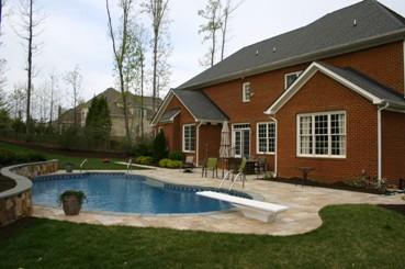 Travertine Pool Deck with Tumbled Bluestone Coping